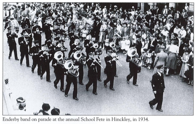 Enderby band on parade at the annual school fete, Hinckley 1934